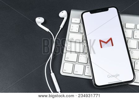 Sankt-petersburg, Russia, April 6, 2018: Google Gmail Application Icon On Apple Iphone X Smartphone