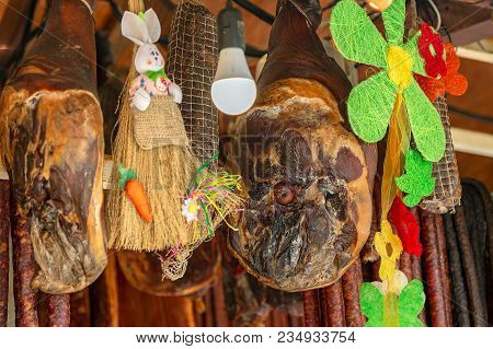 Various Types Of Romanian Sausages, Smoked And Dried, Exposed For Sale At One Traditional Street Eas