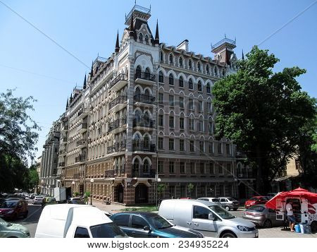 Ukraine, Odessa - June 25, 2017: Beautiful House At The Intersection Of Marazlievskaya Street And Sa