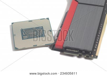 High Performance Ddr4 Computer Memory Ram And Central Processing Unit Cpu Processor Microchip Isolat