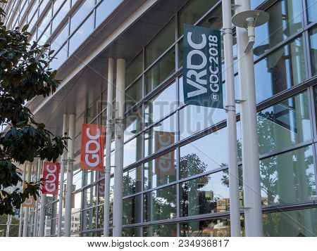 San Francisco, Ca - March 18, 2018: Vrdc (virtual Reality Development Conference) Banner For Gdc 201