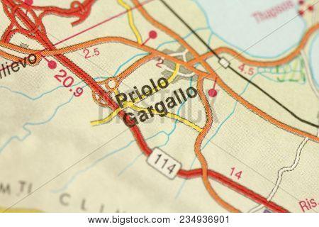 Priolo Gargallo. Map. The Islands Of Sicily, Italy.