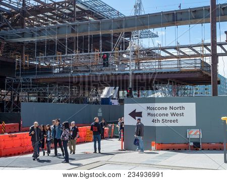 San Francisco, Ca - March 18, 2018: Construction Underway For The Moscone Convention Center Expansio