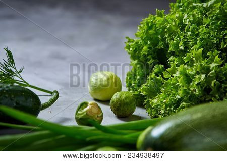 Fresh Vegetables Still Life Over White Textured Background, Close-up, Flat Lay. Assortment Of Fresh