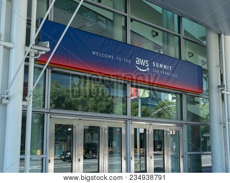 San Francisco, Ca - April 1, 2018: Amazon Web Services (aws) Summit Banner In San Francisco At The M