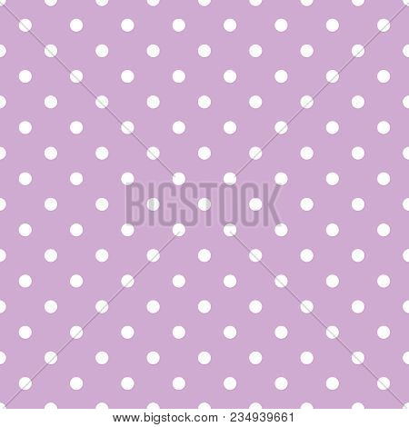 Tile Vector Pattern With White Polka Dots On Pastel Violet Pink Background