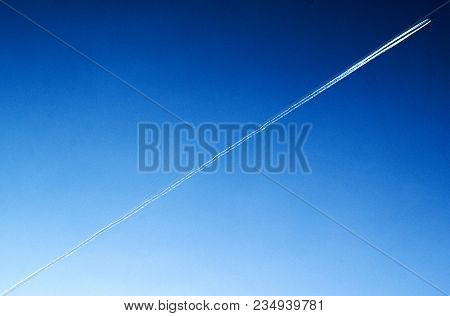Proportional Flight Of The Plane Across The Sky
