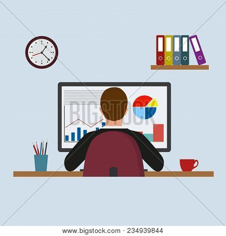 Man Work With Computer Design Flat. Work And Man, Computer And Business Man Worker, Man In Office De
