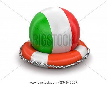 3d Illustration. Ball With Italian Flag On Lifebuoy. Image With Clipping Path