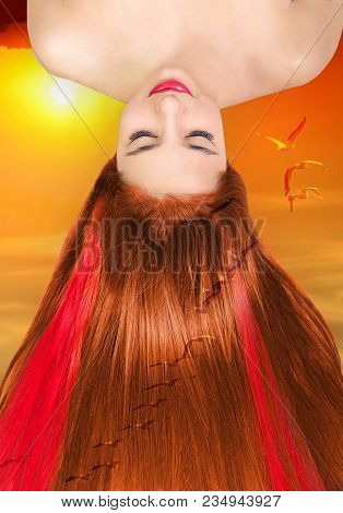Morning Dawn Girl Beautiful Long Red Hair. Beauty Girl With Straight Foxy Hair With Red Strands Of H