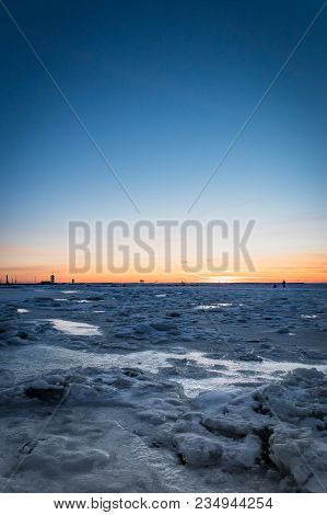 Frozen Ocean At Sunset - Baltic Sea Sunset With Frozen Sea And Snow Taken At Beach In Tallinn, Eston
