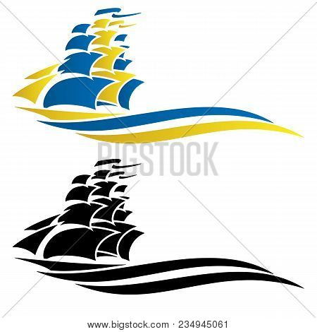 Tall Sailing Ship Vector Graphic Illustration, Clean Lines, Isolated, A Simple Yet Sophisticated Des