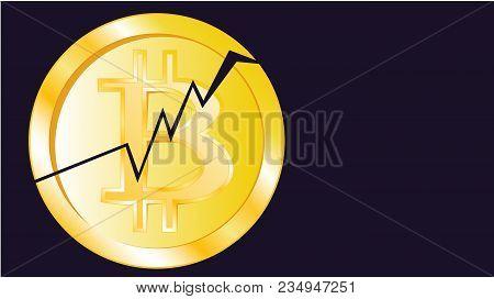 Gold Metallic Bright Shimmering Yellow Volumetric Cracked Coin Bitcoin. Obverse Of The Broken Bitcoi
