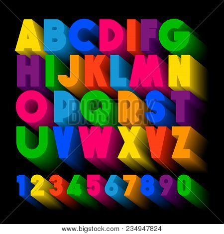 3d Typography. Color Extruded Alphabet. Poster Letters. 3d Colorful Extruded Alphabet Letters On A B