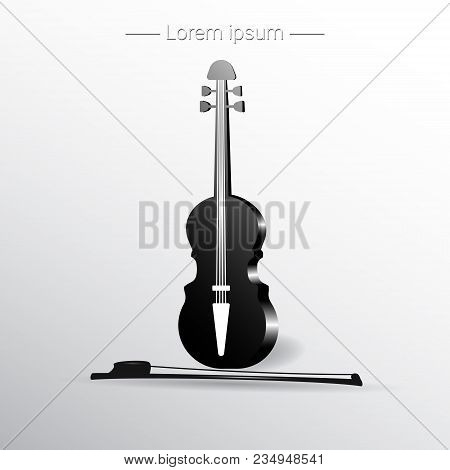 Violin And Bow. Musical Instrument. Vector Illustration