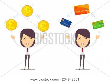 Young Woman Showing Credit Card And Cash Dollar. Stock Flat Vector Illustration.