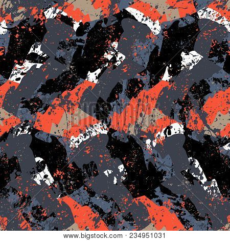 Vector Geometric Seamless Pattern With Lines And Overlapping Shapes In Black, White And Red Colors.
