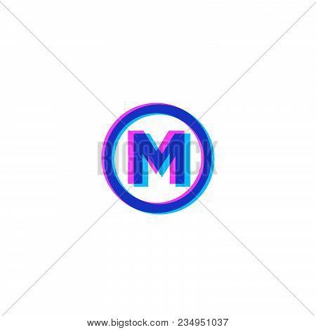 M Logo. M Monogram. Monogram Of Mixed Colors In A Circle.