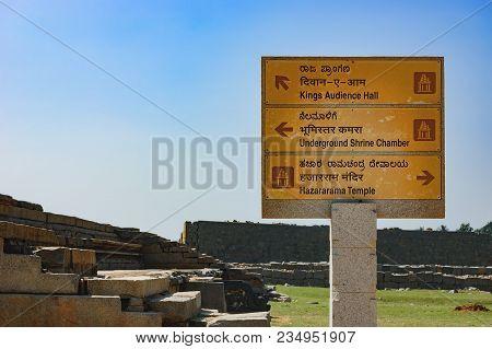 Hampi, India - November 20, 2012: Signpost For Tourists About Hazara Rama Temple, Underground Shrine
