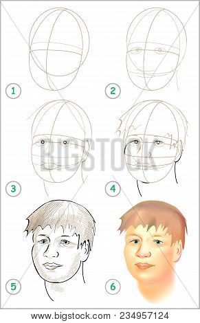 Page Shows How To Learn Step By Step To Draw A Head. Developing Children Skills For Drawing And Colo