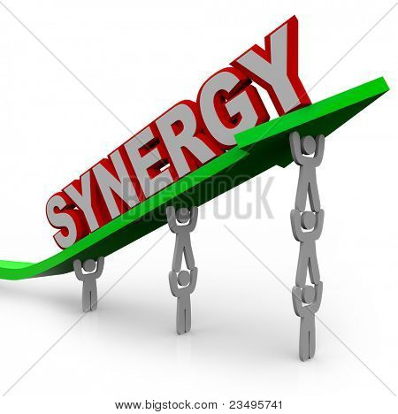 A team of people lift an arrow and the word Synergy, illustrating the growth that can be achieved with many team members working toward a common objective and forming a partnership or alliance