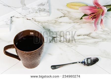 Modern luxury kitchen interior with marble countertop. Interior of a modern kitchen with natural granite countertop. granite texture on white marbled tile, closeup photo on granite tile surface on granite floor show granite tile texture, black and white i
