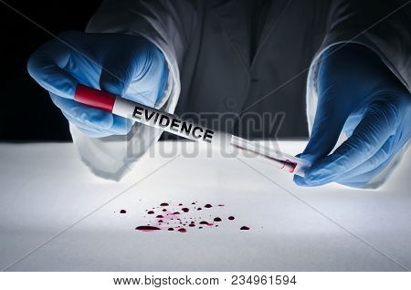 Forensic Expert Takes A Blood Sample With A Sterile Stick Collecting Evidence. Crime Scene Investiga