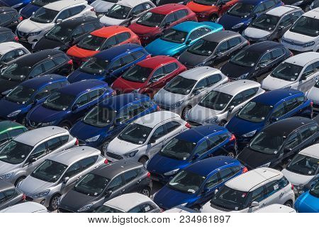 Valencia, Spain - March 16, 2018: Many Cars Ready For Export In Valencia Port In Spain