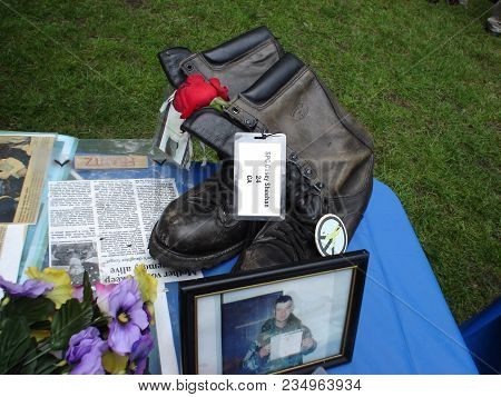 Combat Boots That Belonged To Casey Sheehan, Son Of Cindy Sheehan, Iraq War Protest Demonstration, G