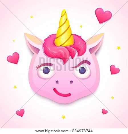 Emoji Cute Pink Unicorn, Face Of Character With Skeptical Emotion, Vector Illustration
