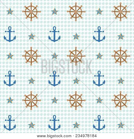 Anchor And Shipwheel Nautical Pattern. A Playful, Modern, And Flexible Pattern For Brand Who Has Cut
