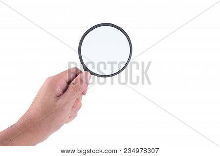 Man's Hand With Magnifying Glass Holding Classic Styled Isolated On White Background