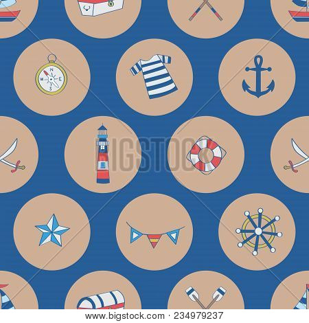 Polka Dots Nautical Elements, Boat, Compass, Chest, Anchor, Shipwheel. A Playful, Modern, And Flexib