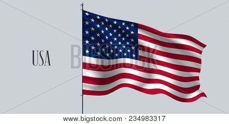 Usa Waving Flag On Flagpole Vector Illustration. Red Blue Element Of American Wavy Realistic Flag As