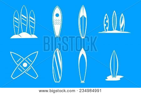 Surf Board Icon Set. Simple Set Of Surf Board Vector Icons For Web Design Isolated On Blue Backgroun