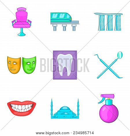 Reception Icons Set. Cartoon Set Of 9 Reception Vector Icons For Web Isolated On White Background