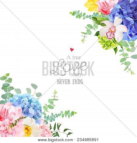 Wedding Floral Angle Vector Design Frame. Blue, Pink And Purple Hydrangea, Orchid, Wild Rose, Yellow