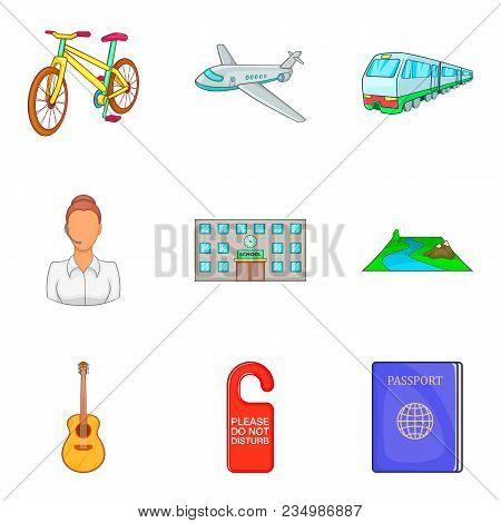 Familiarization Icons Set. Cartoon Set Of 9 Familiarization Vector Icons For Web Isolated On White B