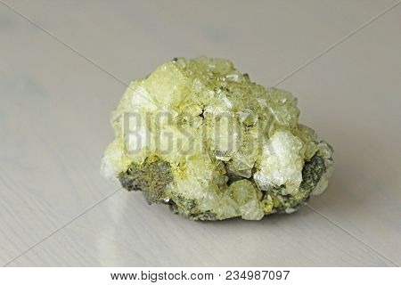 Sulfur Mineral. Yellow Crystals Of Mineral Sulfur.