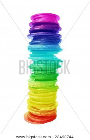 Coins in a rainbow colours
