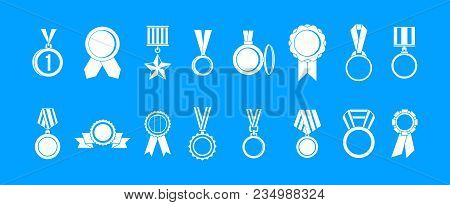 Medal Icon Set. Simple Set Of Medal Vector Icons For Web Design Isolated On Blue Background