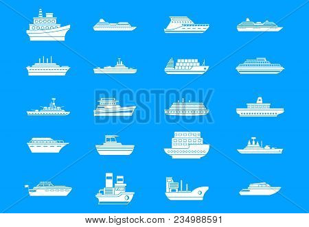 Ship Icon Set. Simple Set Of Ship Vector Icons For Web Design Isolated On Blue Background