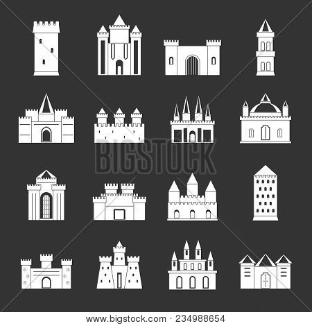 Towers And Castles Icons Set Vector White Isolated On Grey Background