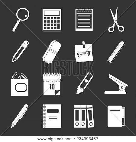 Stationery Symbols Icons Set Vector White Isolated On Grey Background