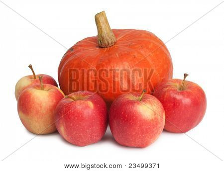 pampkin and apples isolated on white