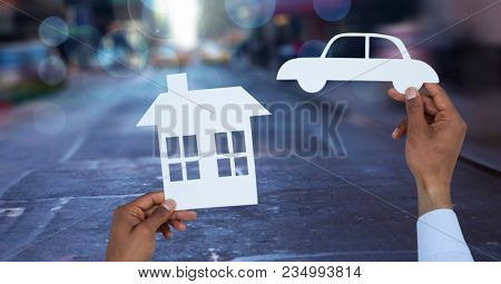 Cut outs house and car on street