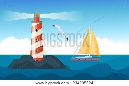 Beautiful Tower Of Red And White Striped Lighthouse. Elements Of Sea Voyage. Seascape, Ship, Seagull