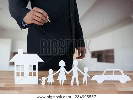 Cut outs of House Family and Car with model in room