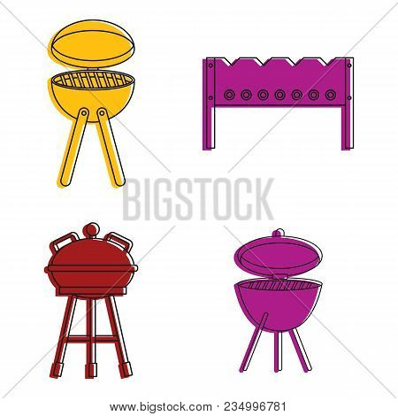 Bbq Tools Icon Set. Color Outline Set Of Bbq Tools Vector Icons For Web Design Isolated On White Bac