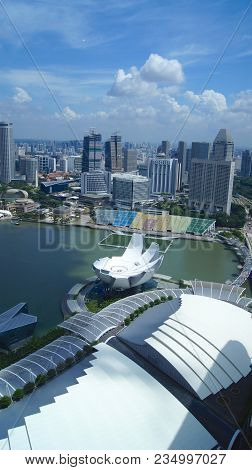 Singapore - Apr 2nd 2015: Singapore Skyline At Marina Bay From Aerial View From Skypark During The D